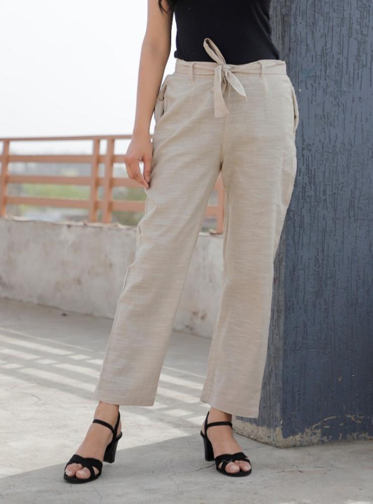 Beige Linen Slub Silk Women Pant with Loose Belt-33227