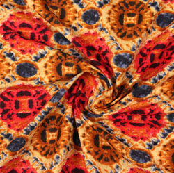 Beige Orange Block Print Cotton Fabric-16091