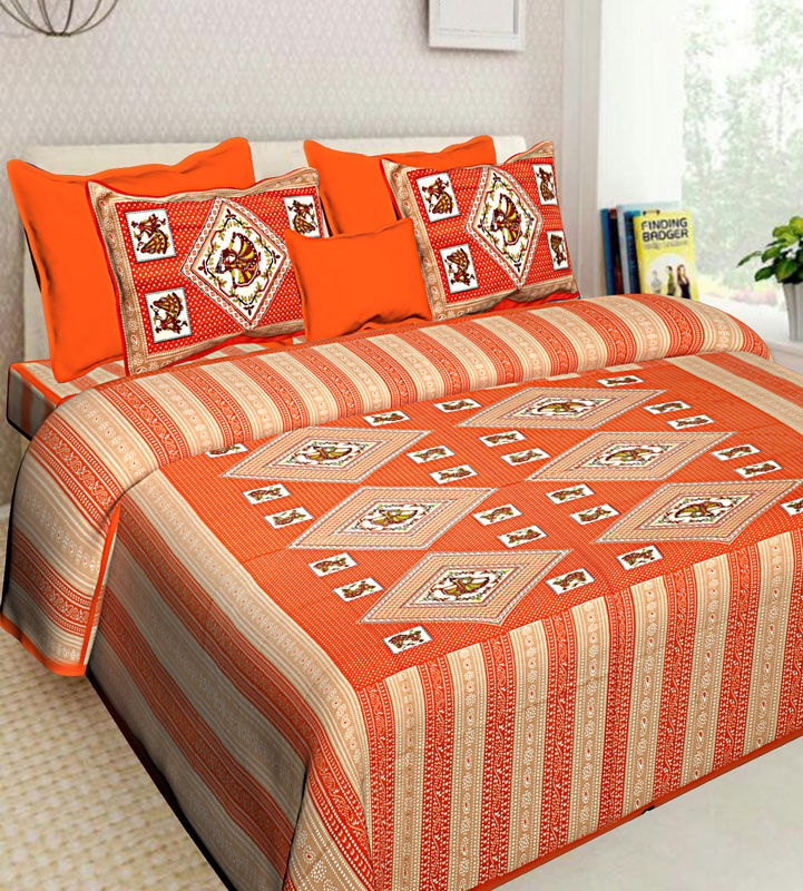 Beige Orange Cotton Jaipuri Bedsheet-584