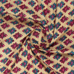 Beige Pink Block Print Cotton Fabric-16085