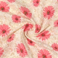Beige Pink Block Print Cotton Fabric-16140