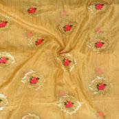 Beige Pink Flower embroidery Organza Silk Fabric-51508