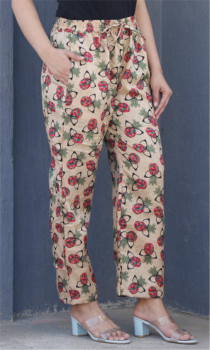 Beige Pink Manipuri Silk Floral Palazzo Pant-34476