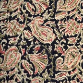 Beige Pink and Black Traditional Kalamkari Cotton Fabric by the Yard