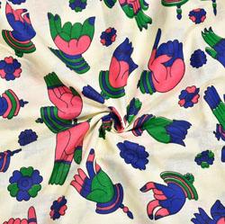 Beige Pink and Blue Hand-Mudra Cotton Kalamkari Fabric-28018
