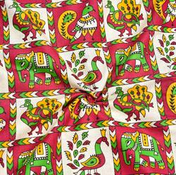 Beige Pink and Green Animal Cotton Kalamkari Fabric-28029