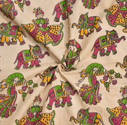 Beige Pink and Green Animal Cotton Kalamkari Fabric-28058