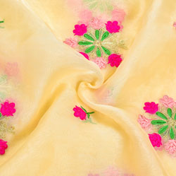 Beige Pink and Green Floral Embroidery Organza Silk Fabric-22068