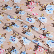 Beige-Pink and Sky Blue Flower Silk Crepe Fabric-18102
