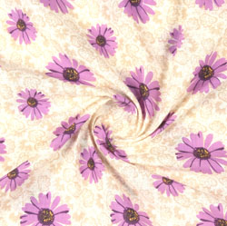 Beige Purple Block Print Cotton Fabric-16092