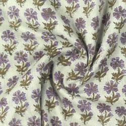 Beige Purple Block Print Cotton Fabric-16186