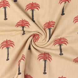 Beige Red Block Print Cotton Fabric-16035