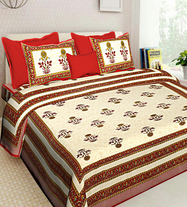 Beige Red Cotton Jaipuri Bedsheet-547