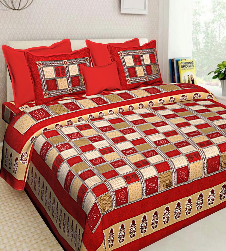 Beige Red Cotton Jaipuri Bedsheet-570