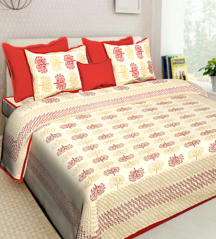 Beige Red Cotton Jaipuri Bedsheet-578