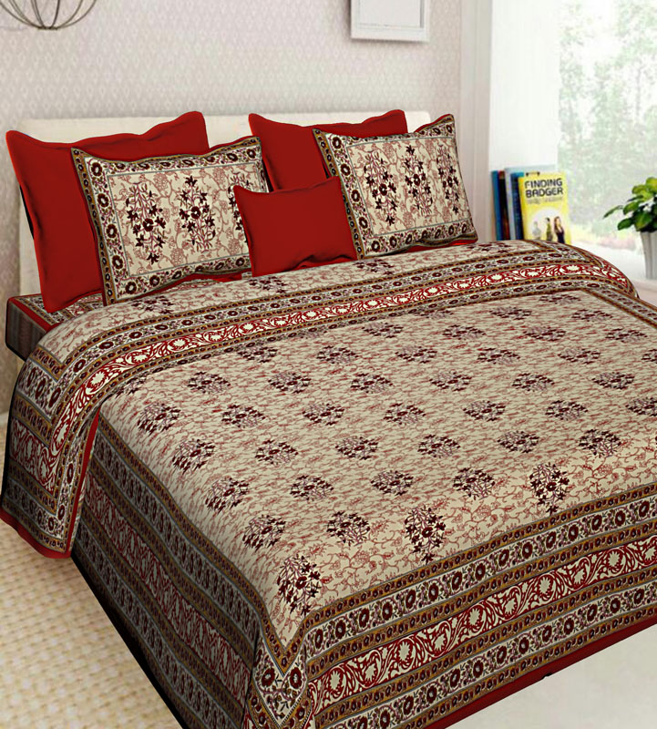 Beige Red Cotton Jaipuri Bedsheet-597