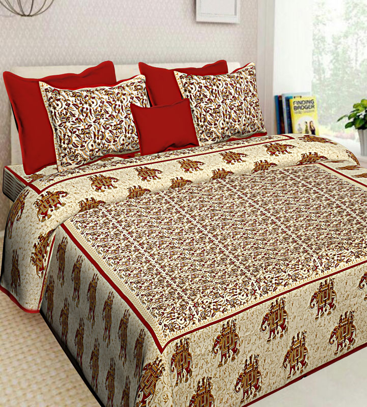Beige Red Cotton Jaipuri Bedsheet-637