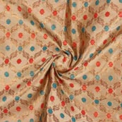 Beige Red and Cyan Floral Brocade Silk Fabric-9276
