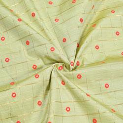 Beige Red and Golden Polka Zari Taffeta Silk Fabric-12319