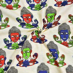 Beige Red and Green Buddha Cotton Kalamkari Fabric-28035