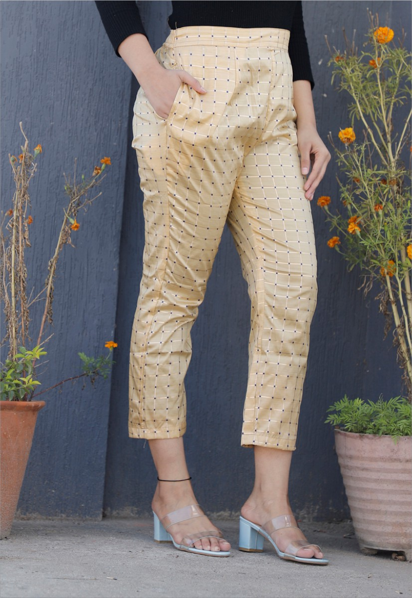 Beige White Brocade Silk Ankle Women Check Pant-34330