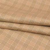 Beige White Checks Wool Fabric-90105
