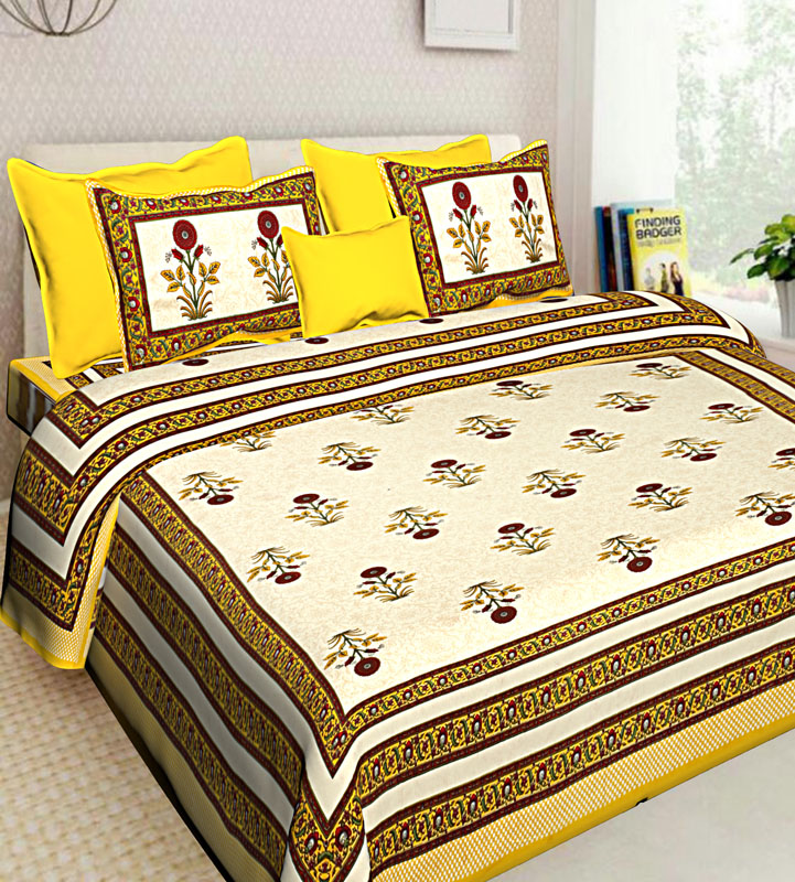 Beige Yellow Cotton Jaipuri Bedsheet-548