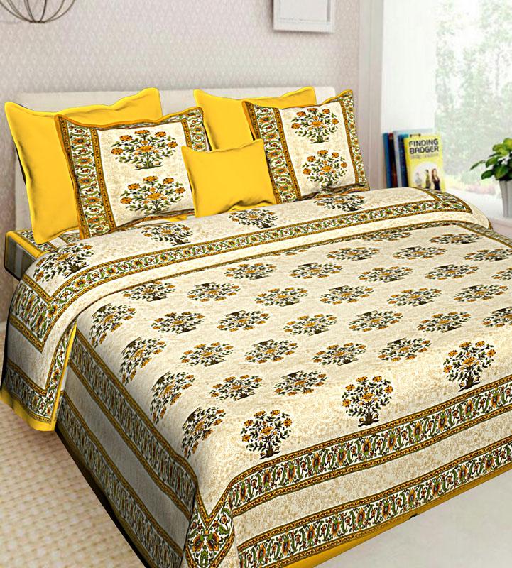 Beige Yellow Cotton Jaipuri Bedsheet-561