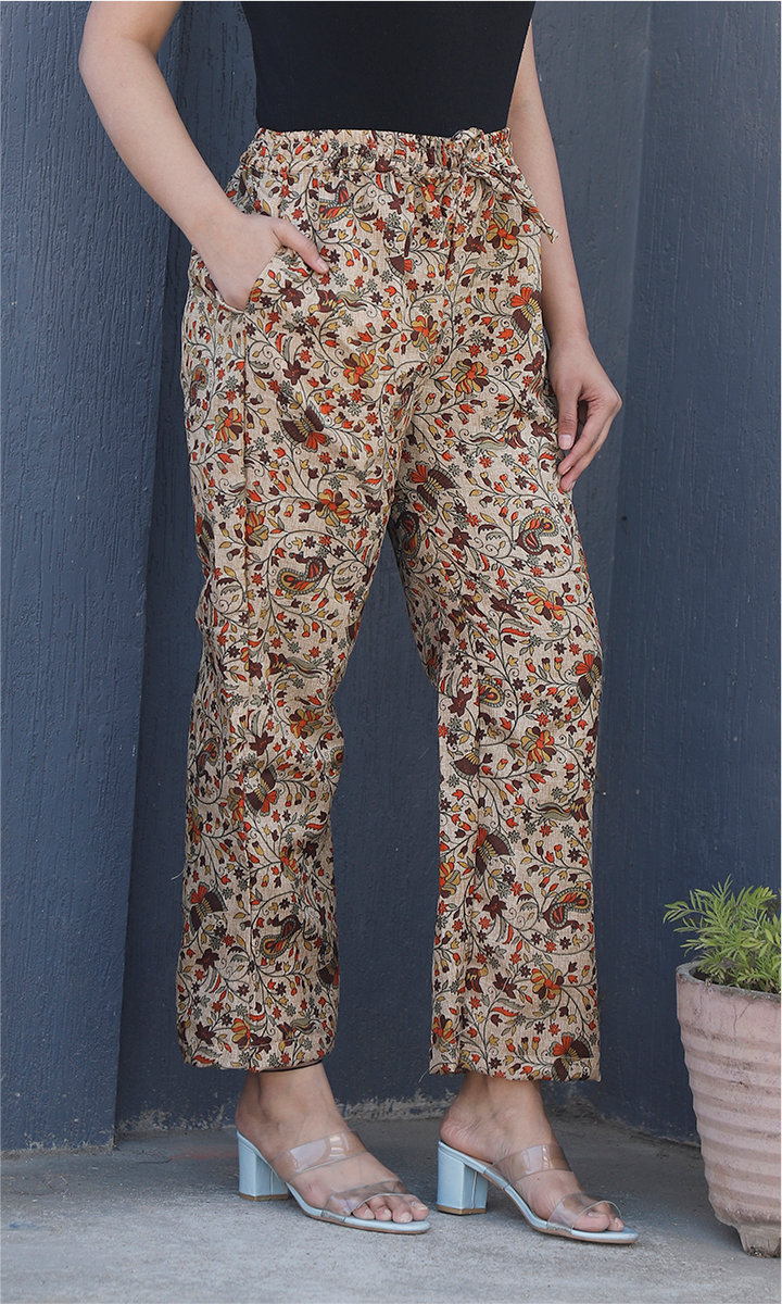 Beige Yellow Manipuri Silk Floral Palazzo Pant-34504