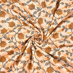 Beige Yellow and Gray Floral Block Print Cotton Fabric-28521