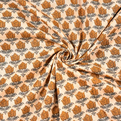 Beige Yellow and Gray Floral Block Print Cotton Fabric-28522