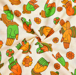 Beige Yellow and Green Hand-Mudra Cotton Kalamkari Fabric-28028
