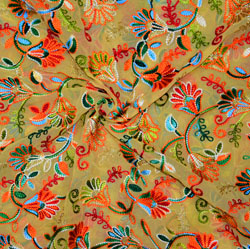 Beige Yellow and Green Multi Work Georgette Embroidery Fabric-19420
