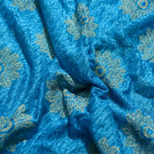 Beige and Blue Flower Pattern Lycra Fabric-6523