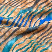 Beige and Blue Leharia Design Kota Doria Fabric-6009
