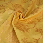 Beige and Golden Flower Pattern Brocade Silk Fabric-8158