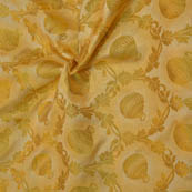 Beige and Golden Pot Pattern  Brocade Silk Fabric-8124