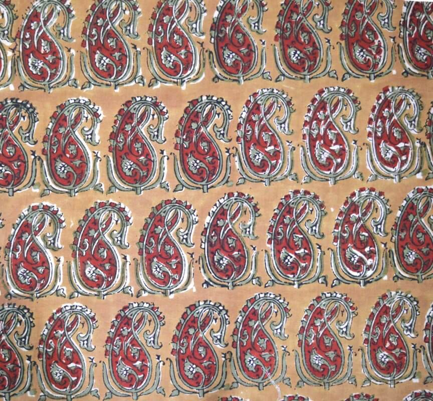 Beige and Maroon Paisley Kalamkari Work Pattern Cotton Fabric