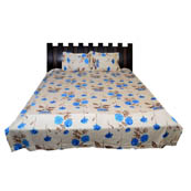 Beige and Sky Blue Floral Printed Cotton Double Bed Sheet-0D55
