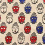 Beige-blue and red small Buddha Pattern Cotton Kalamkari Fabric 4484