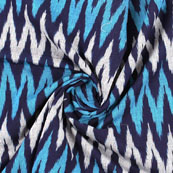 Black Blue and Gray Ikat Cotton Fabric-12183