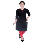 Black 3/4 Sleeve Solid Cotton Kurti-3008
