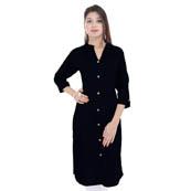 Black 3/4 Sleeve Solid Cotton Kurti-3019