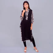 Black And White Rayon Kurti With Back Dart-22002