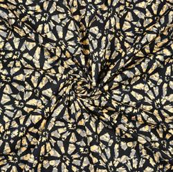 Black Beige Batik Cotton Fabric-28477