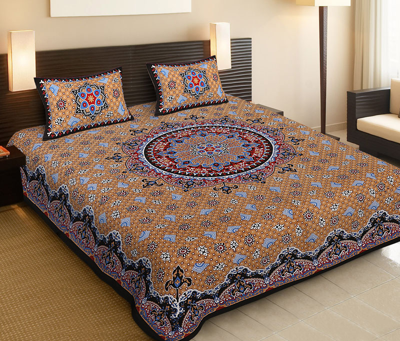Black Beige Cotton Jaipuri Bedsheet-530