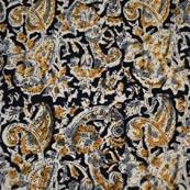 Black Beige Gray and Yellow Flower Hand Painted Kalamkari Cotton Fabric