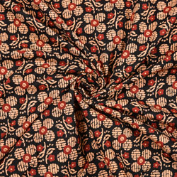 Black Beige and Red Floral Block Print Cotton Fabric-28397