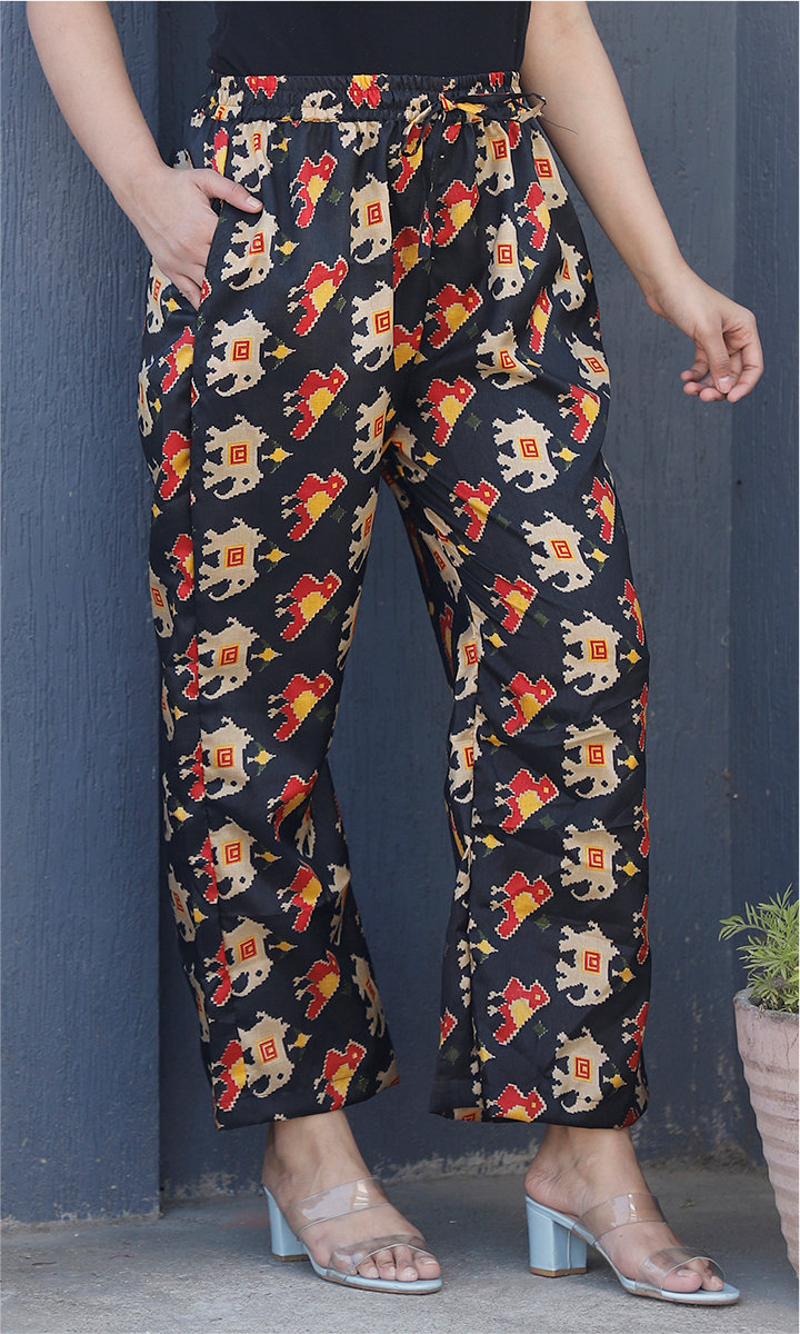 Black Beige and Red Manipuri Silk Animal Palazzo Pant-34482