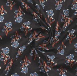 Black Blue Block Print Cotton Fabric-16008